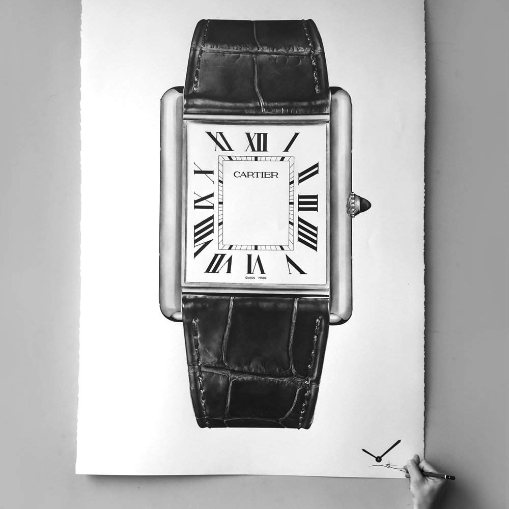 cartier tank drawing