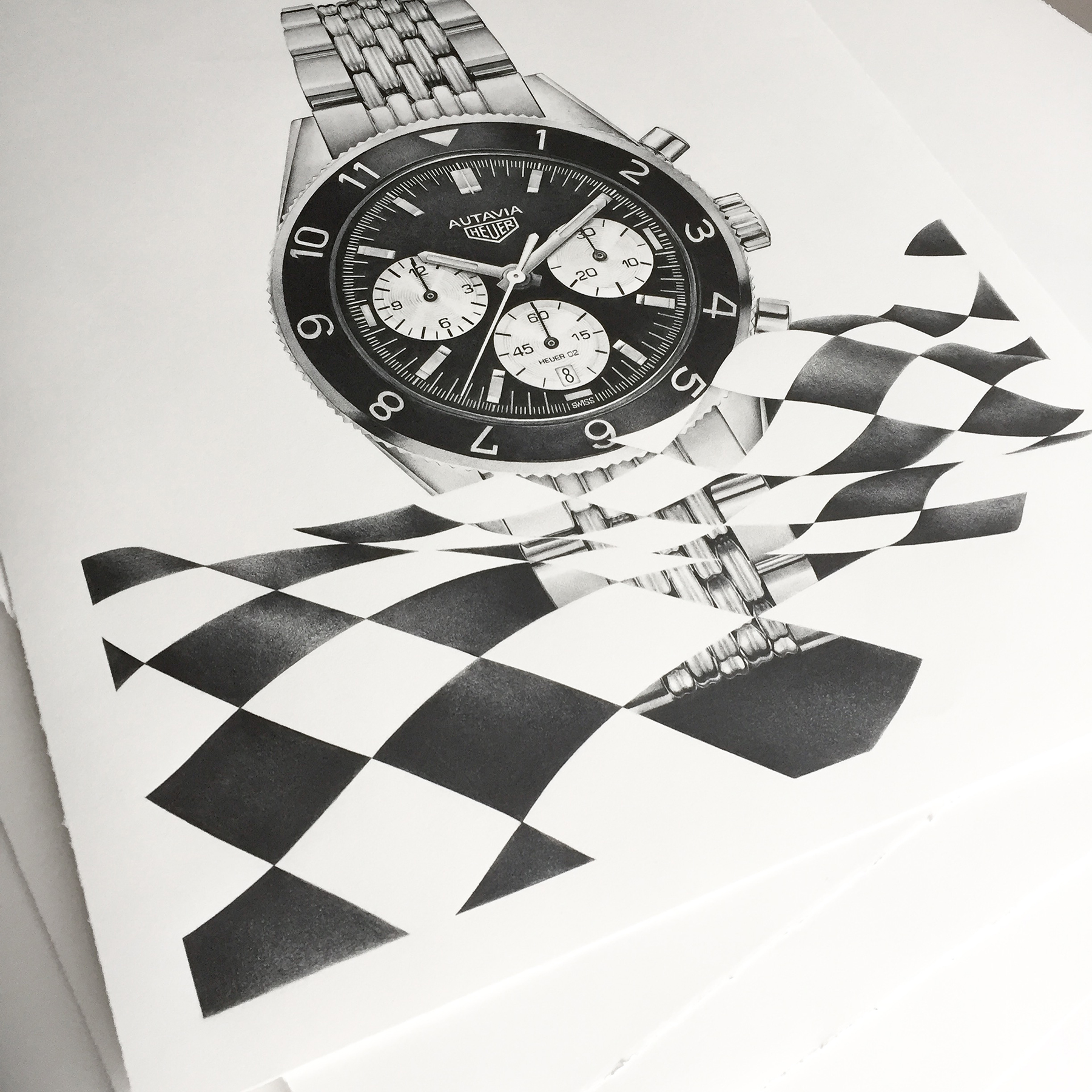 TAG Heuer Autavia Book Cover Drawing