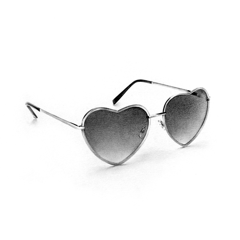 heart sunglasses graphite drawing