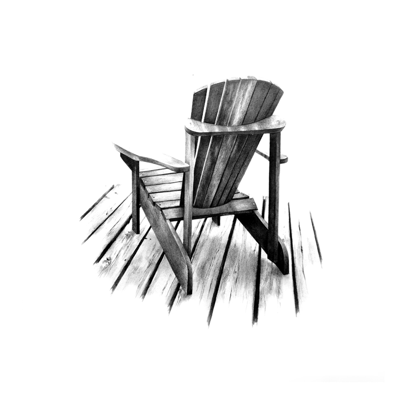 muskoka chair graphite drawing