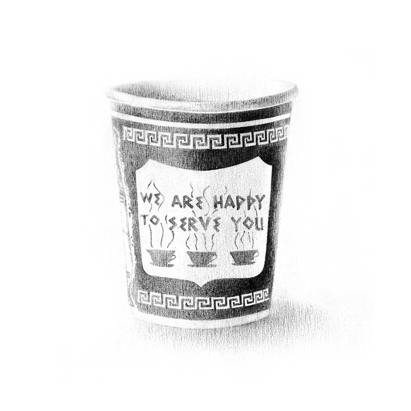 new york coffee cup graphite drawing