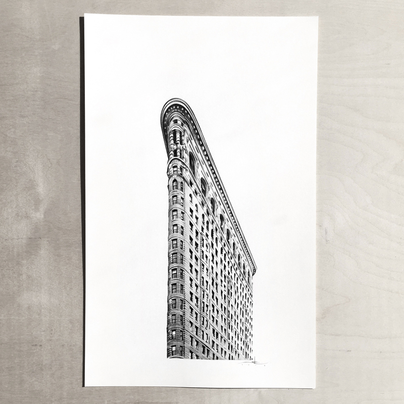 flat iron building drawing